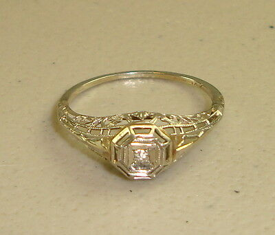 Vintage Art Deco 14k White Gold Diamond Engagement Ring, Size 7