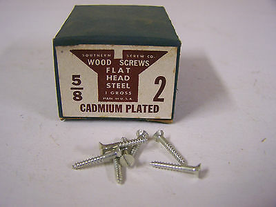 "#2 x 5/8"" Flat Head Wood Screws Slotted Cadmium Plated Made in USA Qty 144"