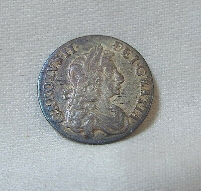 1680 Great Britain King Charles II Silver Threepence EXTRA FINE