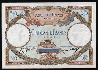 50 Francs From France   1929 M8 xf+