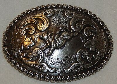 Nocona Silver Tone Western Belt Buckle Bull Rider Scalloped Flower Edge Small