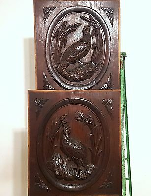 HAND CARVED WOOD PANEL ANTIQUE FRENCH MATCHED PAIR HUNTING CARVING CHATEAU 19th