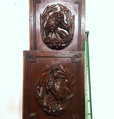 HAND CARVED WOOD PANEL ANTIQUE FRENCH MATCHED PAIR HUNTING TROPHY CARVING 19th