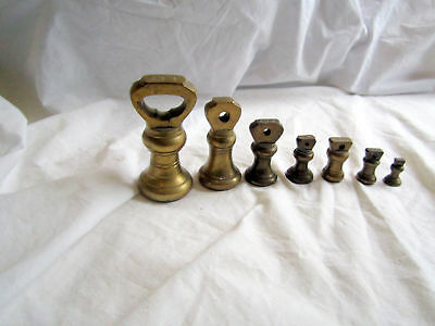 VINTAGE SOLID BRASS SCALES WEIGHTS 1LB TO 0.5 oz