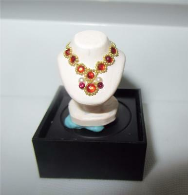 Miniature Dollhouse 1:12 Scale Red Stone Necklace On Bust - Artisan Piece - #1