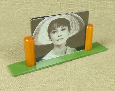 BUTTERSCOTCH AMBER CATALIN & GREEN LUCITE - 1930's ART DECO PHOTO FRAME