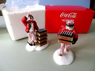 "Dept 56 Snow Village 2 Pc ""Coca Cola Delivery Men"" (5480-1) Ceramic Accessory"