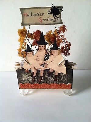Altered art mixed media fairy block HALLOWEEN GREETINGS OOAK  original collage