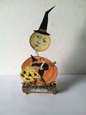 Altered art mixed media fairy block HALLOWEEN BEWITCHING OOAK  original collage