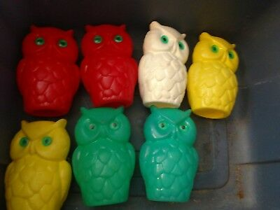 """Vintage Owl Covers for Patio or RV Lights- Lot of Seven 6 1/2"""""""