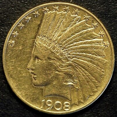 1908 D $10 US Indian Head Gold Eagle Coin (07702)