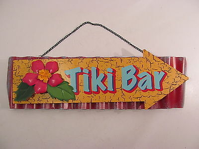 Hawaiian Tiki Bar Metal 3D Arrow Sign with Flower