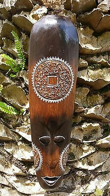"Nice Handcarved Wood African Style ""coin"" Mask With Great Design!"