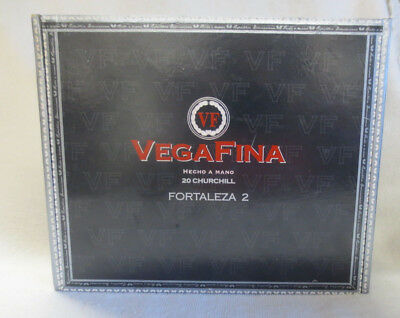 Vega Fina Fortaleza 2 Churchill Paper Covered Wood Cigar Box   - Nice!!