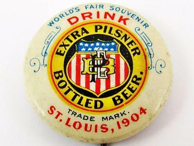 1904 St. Louis World's Fair Extra Pilsner Beer Celluloid Advertising Pin Button
