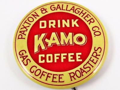Vintage Paxton & Gallagher Co Kamo Coffee Advertising Celluloid Pin Button