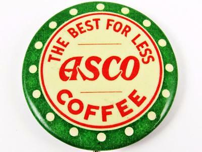 """Vintage Asco Coffee """"the Best For Less"""" Advertising Celluloid Pin Button"""