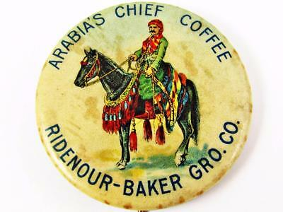 Vintage Ridenour-Baker Co Arabia's Chief Coffee Advertising Celluloid Pin Button
