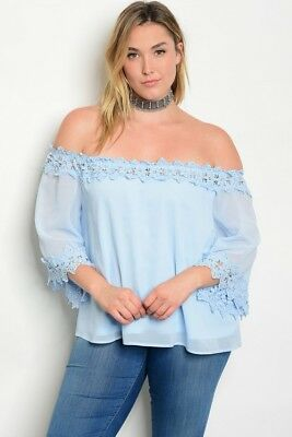 6ccaf8ee326 Women s Plus Size Sexy Sky Blue Off Shoulder Top With Lace Accents 2Xl Nwt