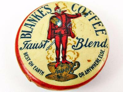 Vintage Blanke's Faust Blend Coffee Advertising Celluloid Pin Button 1