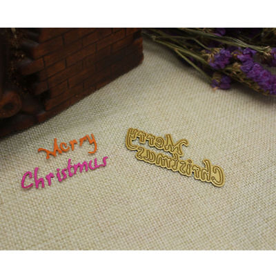 Merry Christmas Gold Cutting Dies Stencil Scrapbook Paper Cards Craft Embossing