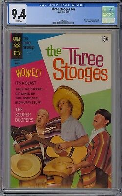 The Three Stooges #42 CGC 9.4 NM Wp Gold Key 1969 Larry Moe & Curly Photo Cover