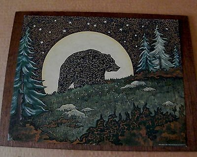 "12x15"" country primitive moonlight moon crackle bear lodge bathroom decor sign"