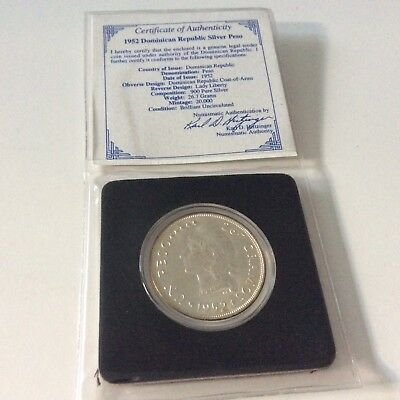 Dominican Republic 1952 Peso Silver Coin Uncirculated Certificate 20000 Mintage