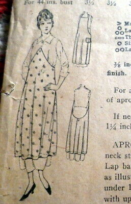 RARE VTG 1920s APRON Sewing Pattern BUST 36