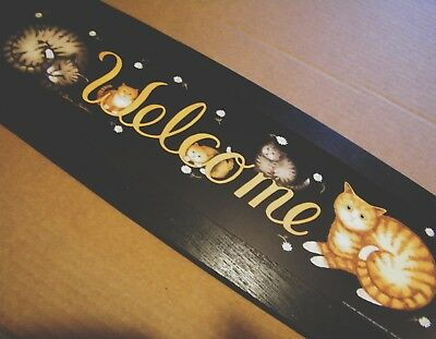 "6x20"" country primitive cat cats kitten feline WELCOME art home decor sign"