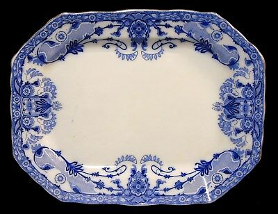 Antique English Ironstone Flow Blue China Raleigh Turkey Meat Platter Tray B & L