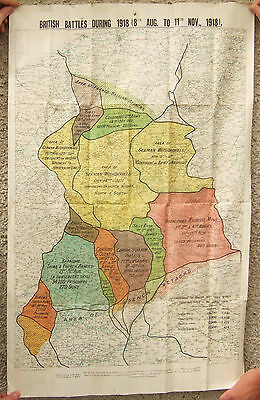 Old Map Detailing British Battles During 1918 (8th August to 11th November) WWI