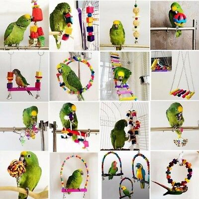 Parrot Pet Bird Chew Cages Hang Toys Wood Large Rope Cave Ladder Bells Chew TU