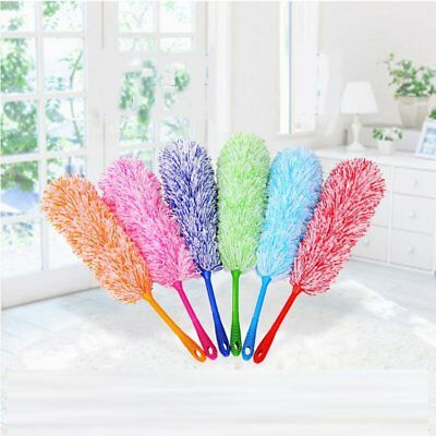 Soft Microfiber Flexible Feather Duster House Home Room Cleaner Handle TU