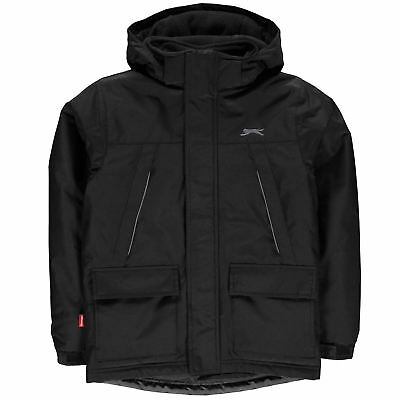 Slazenger Kids Hood Jacket Junior Padded Coat Top Chin Guard Hooded Zip Full