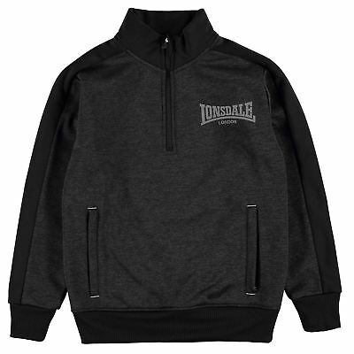 Lonsdale Kids Boys Poly Quarter Zip Top Junior Fleece Sweatshirt Jumper Funnel