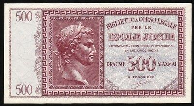 500 Drachmai From Greece Italy Isole Jonie  M8 Unc Rare Quality