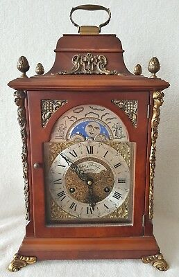 Dutch Clock Mantel Shelf Clock 40cms 1964 Hermle Moon Dial Double Bell Repairs