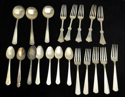 Antique Vintage Mixed Makers Lot of 20 Flatware Silver Plate Spoons Fork