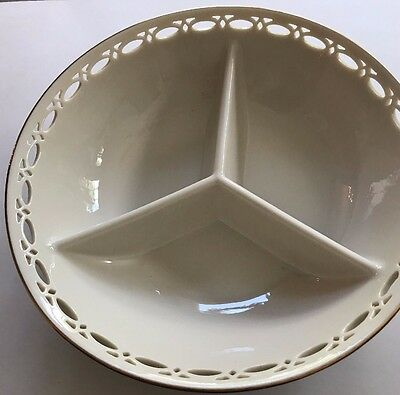 Lenox Matelasse Divided Pierced Bowl Condiment Dish NEW in BOX