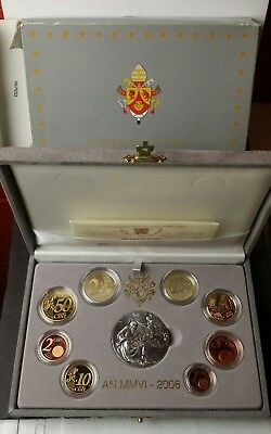 2006 Vatican City Potificate of Benedict XVI Proof Euro Set with Silver Medal