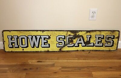 Antique 1930's Howe Scales Porcelain Store Display Sign All Original And Nice!