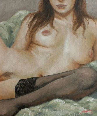 NUDE FEMALE EROTIC FIGURATIVE ART ORIGINAL CLASSICAL OIL PAINTING by JOHN SILVER