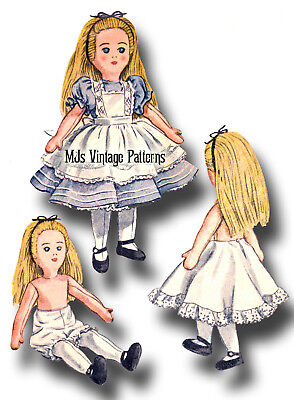 "Vintage 1940s Alice in Wonderland Cloth Stuffed Doll Toy Pattern 20"" tall"
