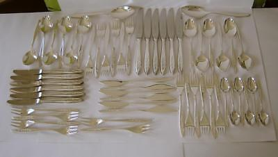 A Flower Embossed 56 Piece De Montfort Sheffield Silverplated Canteen Of Cutlery