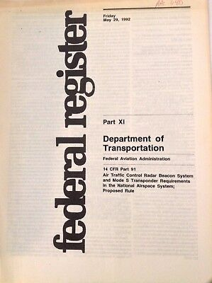 Federal Register Aviation Magazine DOT Part XI May 29, 1992 FAL 090917nonrh2