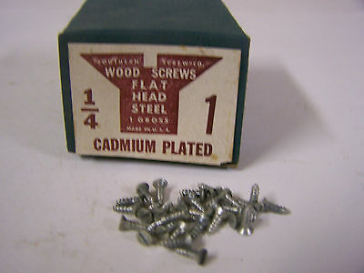 "#1 x 1/4"" Flat Head Wood Screws Slotted Cadmium Plated Made in USA Qty 144"