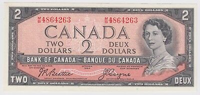 1954 Bank Of Canada Two 2 Dollars Bank Note Mb 4864263 Nice Bill Unc