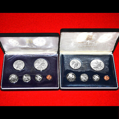 British Virgin Islands 1973 & 1974 Proof Sets (2 Sets) Two .925 Silver Dollars