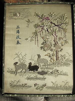 Chinese Antique Embroidery Embroidered Silk Birds Animals Insects Panel Picture